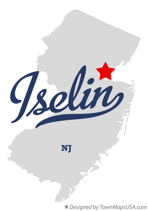 Map of Iselin New Jersey NJ