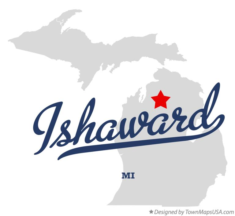 Map of Ishaward Michigan MI