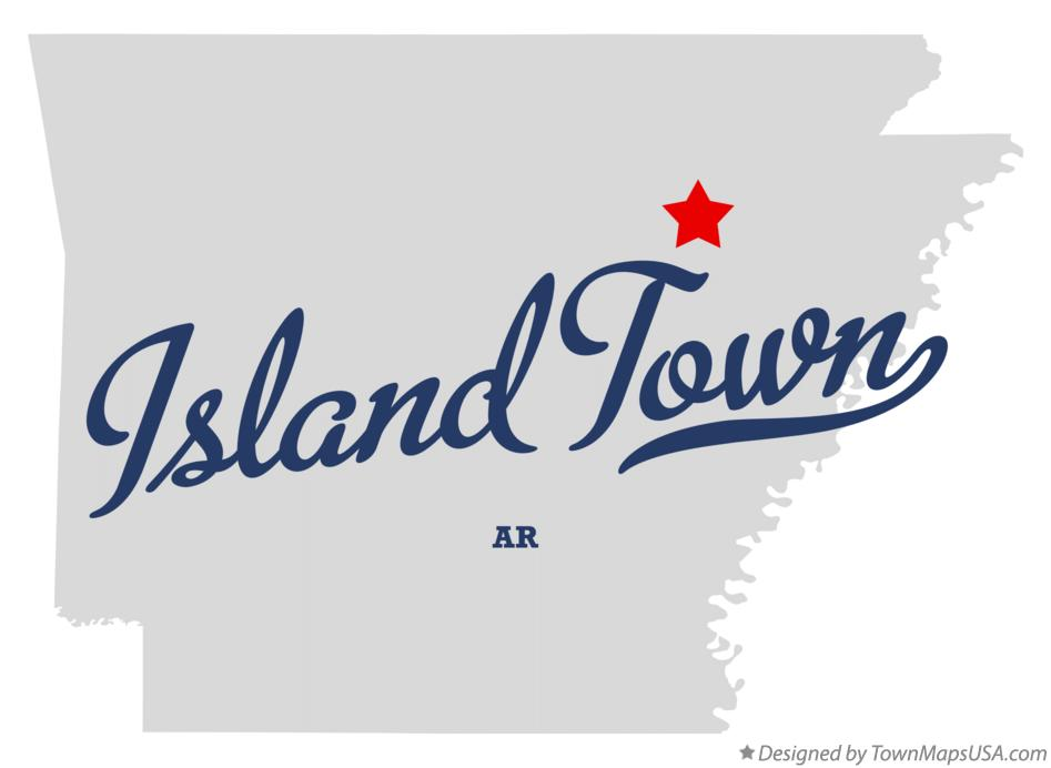 Map of Island Town Arkansas AR