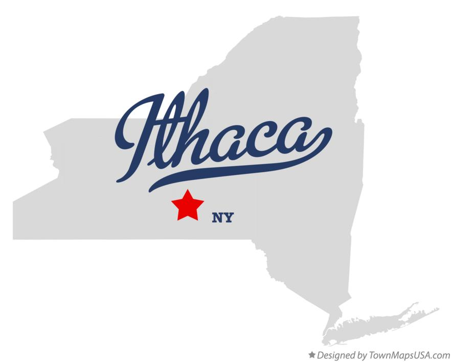 Map of Ithaca New York NY