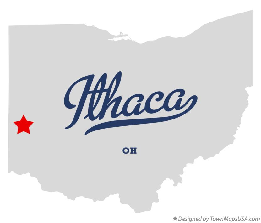 Map of Ithaca Ohio OH