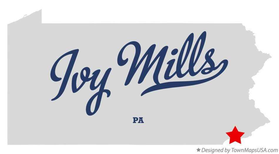 Map of Ivy Mills Pennsylvania PA