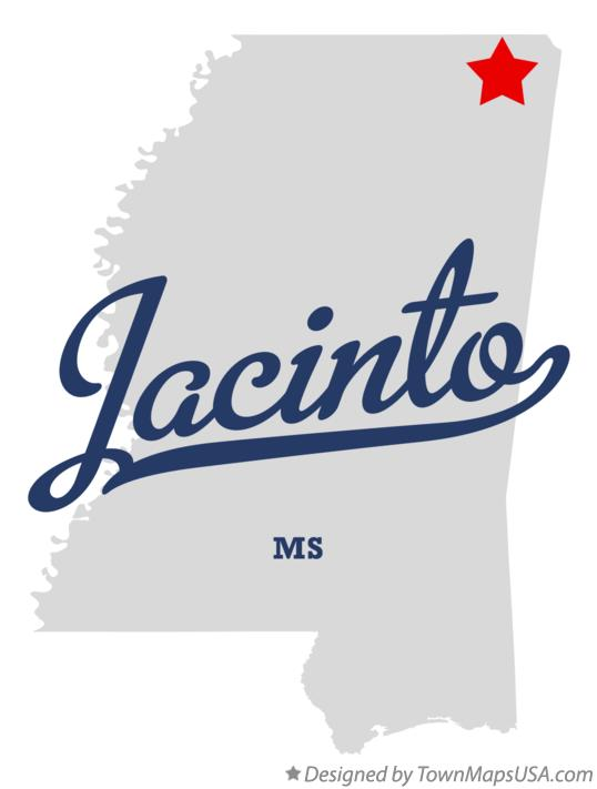 Map of Jacinto Mississippi MS