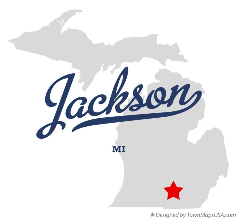 Map of Jackson Michigan MI