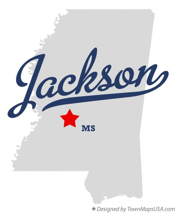 Map of Jackson Mississippi MS