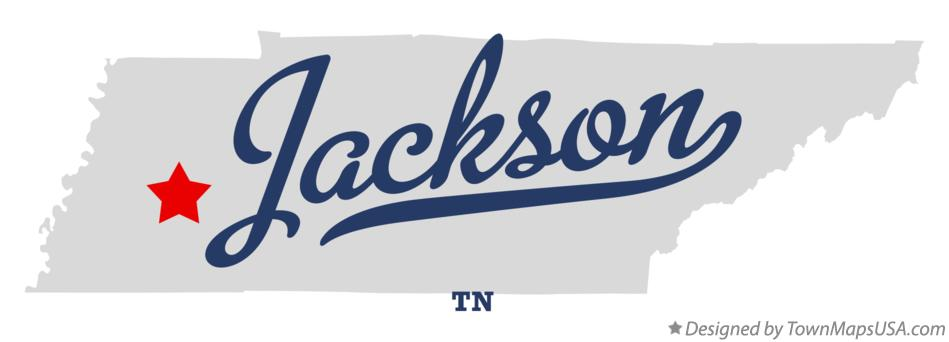 Map of Jackson Tennessee TN