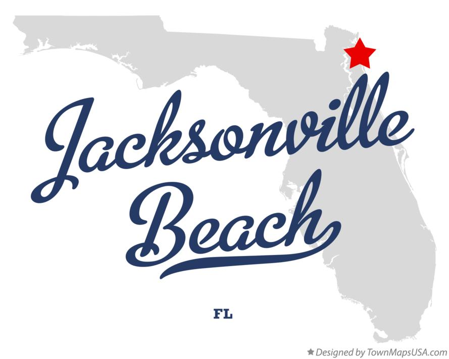 Map of Jacksonville Beach Florida FL