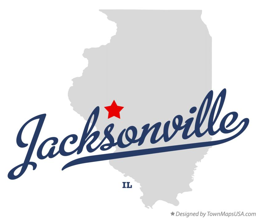 Map of Jacksonville Illinois IL
