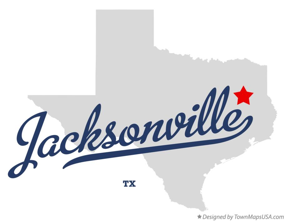 Map of Jacksonville Texas TX