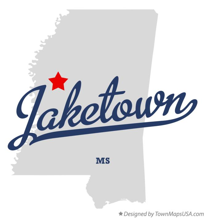 Map of Jaketown Mississippi MS