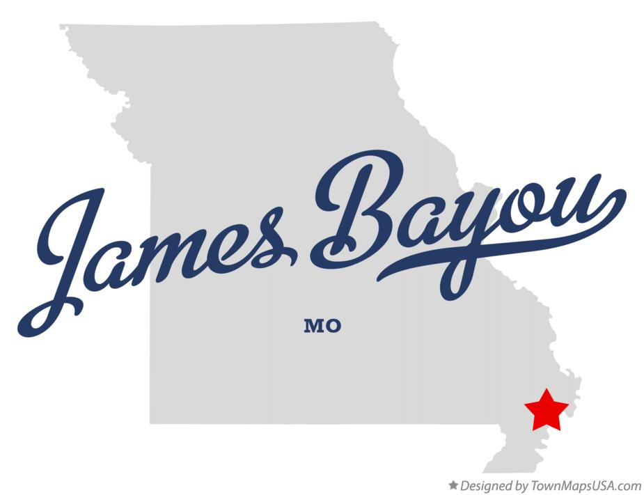 Map of James Bayou Missouri MO