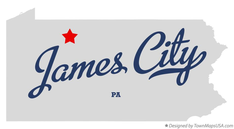 Map of James City Pennsylvania PA