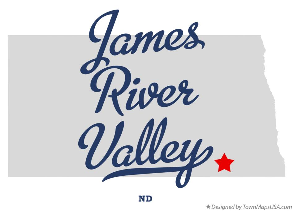 Map of James River Valley North Dakota ND