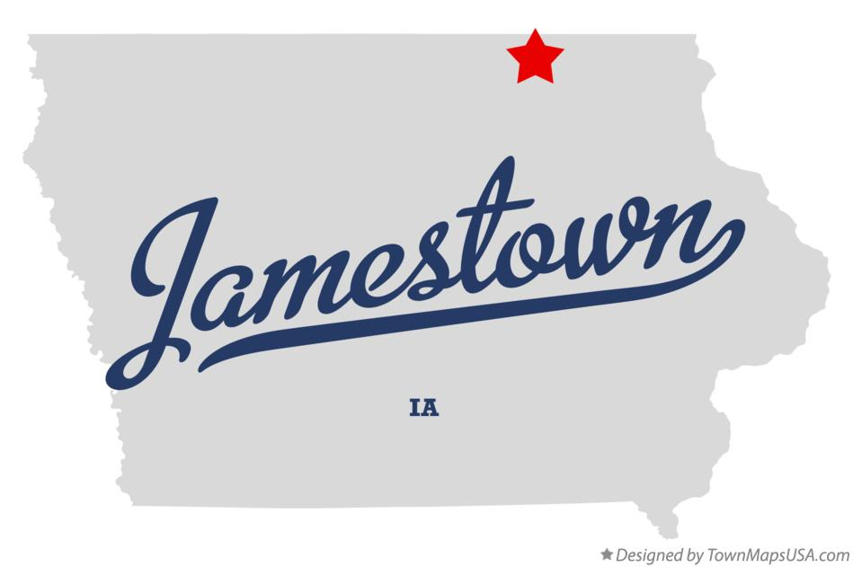 Map of Jamestown Iowa IA