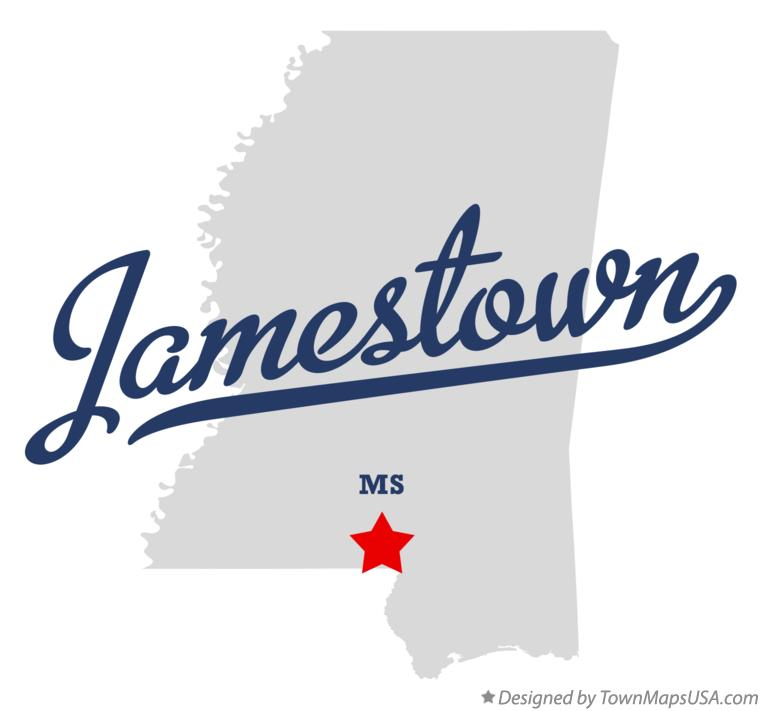 Map of Jamestown Mississippi MS