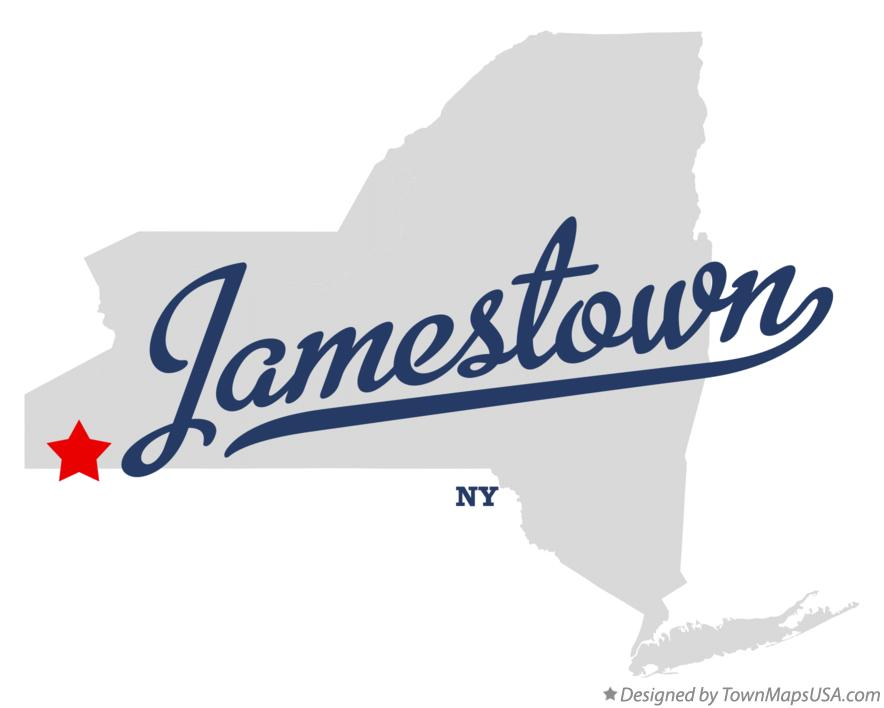 Map of Jamestown New York NY