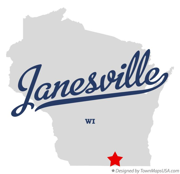 Map of Janesville Wisconsin WI