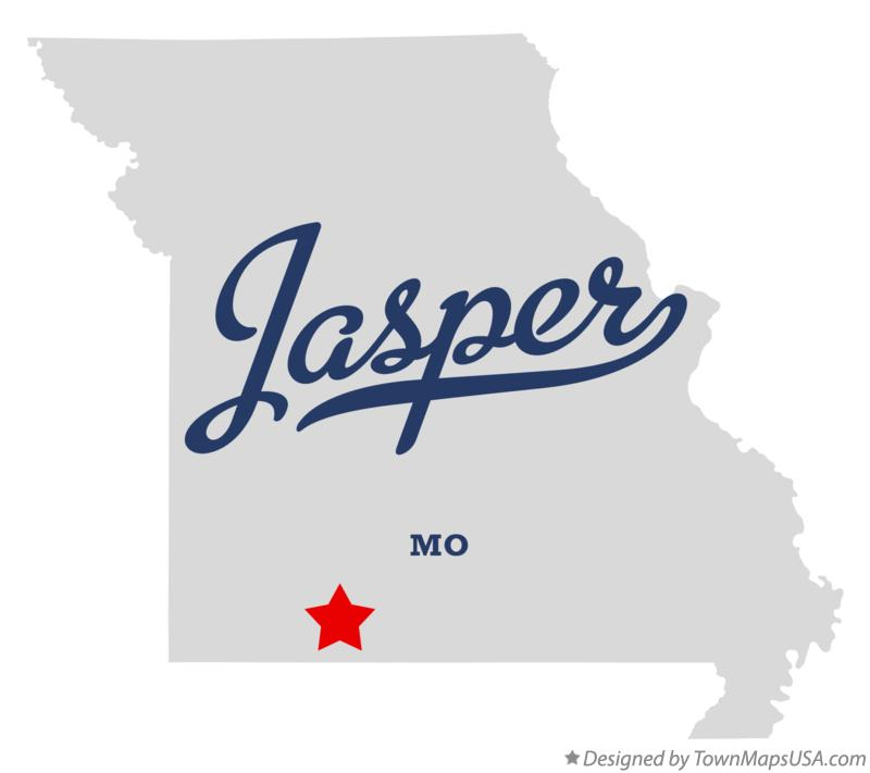 Map of Jasper Missouri MO