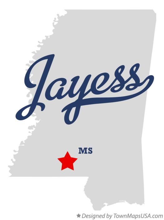 Map of Jayess Mississippi MS