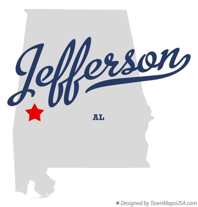 Map of Jefferson Alabama AL
