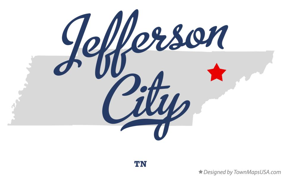 Map of Jefferson City Tennessee TN
