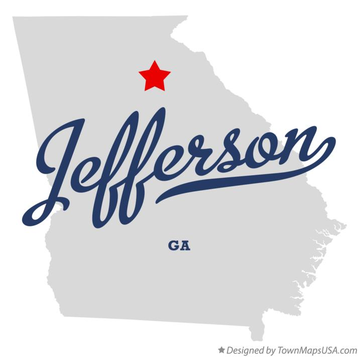 Map Of Jefferson Jackson County GA Georgia - Jefferson georgia map