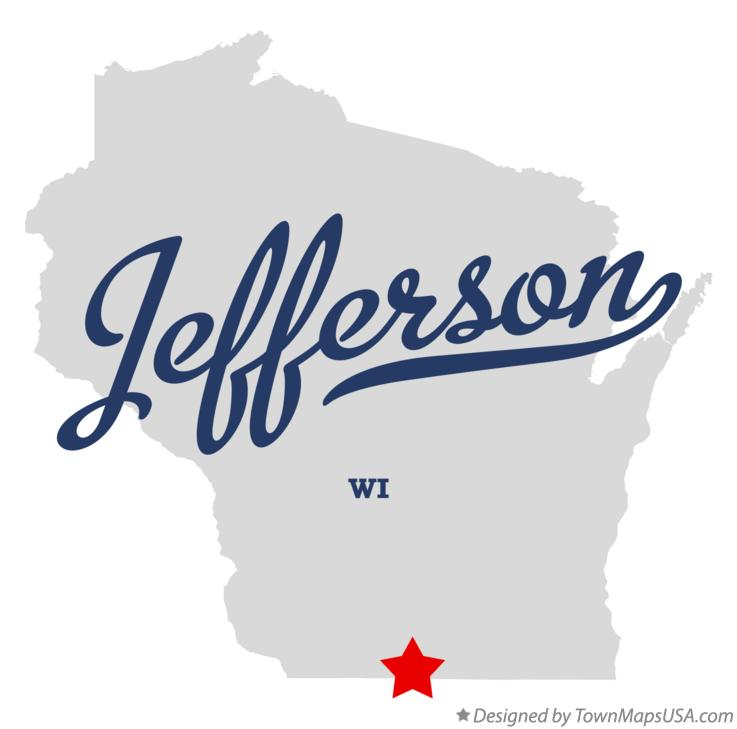 Map of Jefferson Wisconsin WI