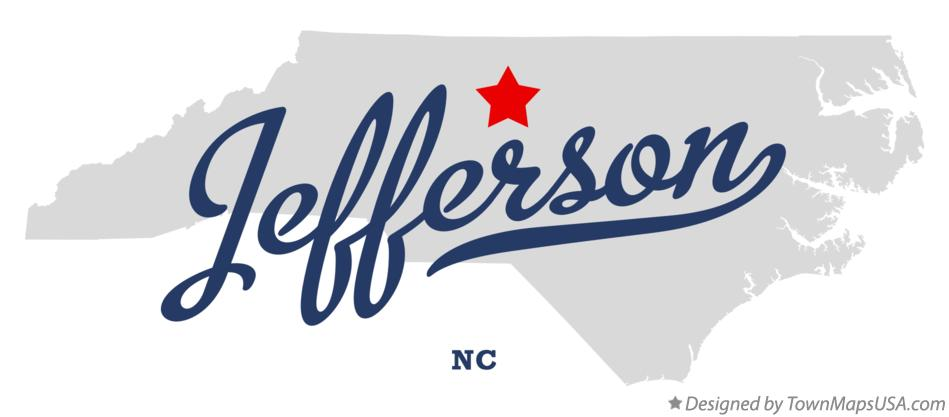 Map of Jefferson North Carolina NC