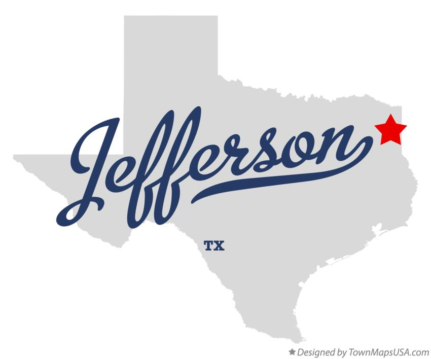 Map of Jefferson Texas TX