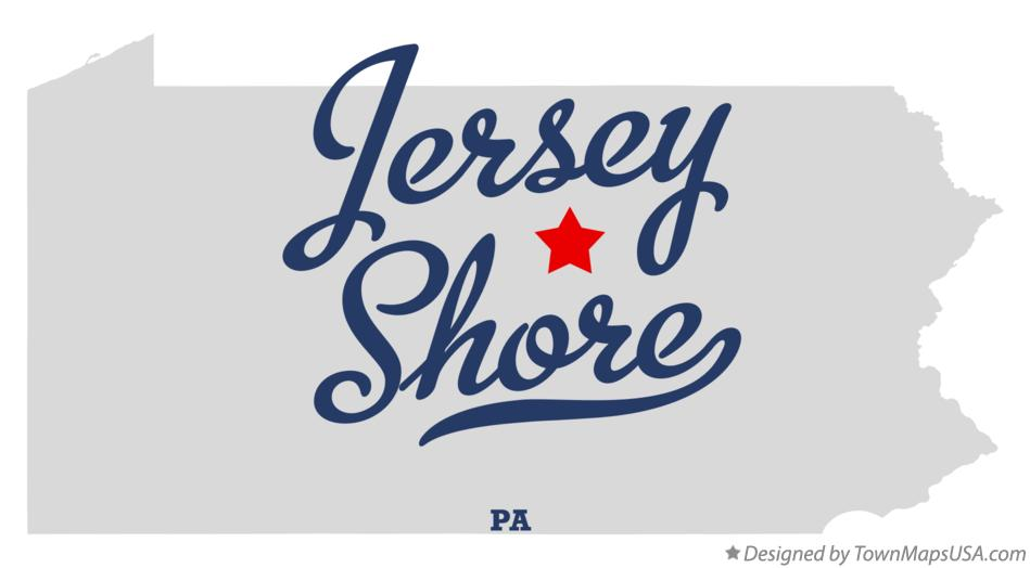 Map of Jersey Shore Pennsylvania PA