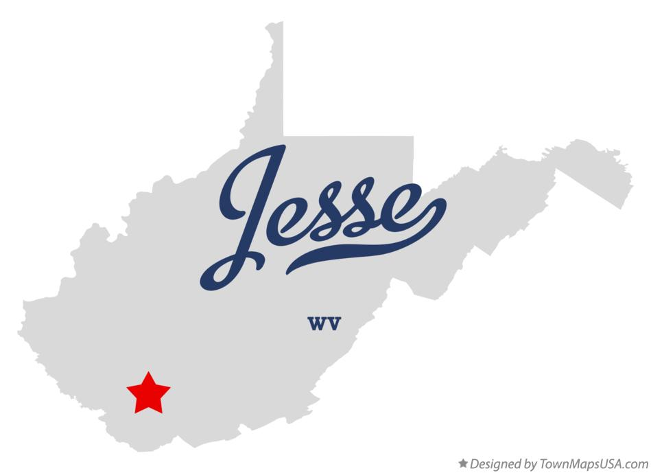 Map of Jesse West Virginia WV