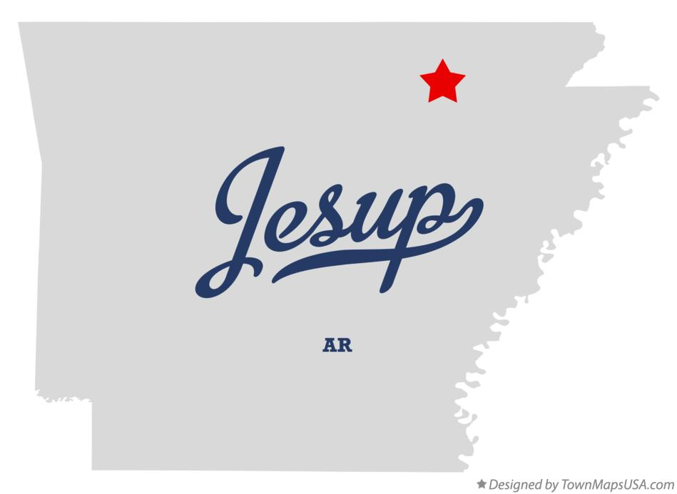 Map of Jesup Arkansas AR