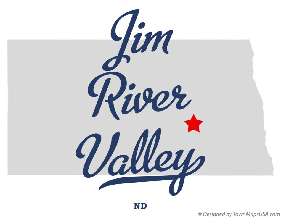 Map of Jim River Valley North Dakota ND