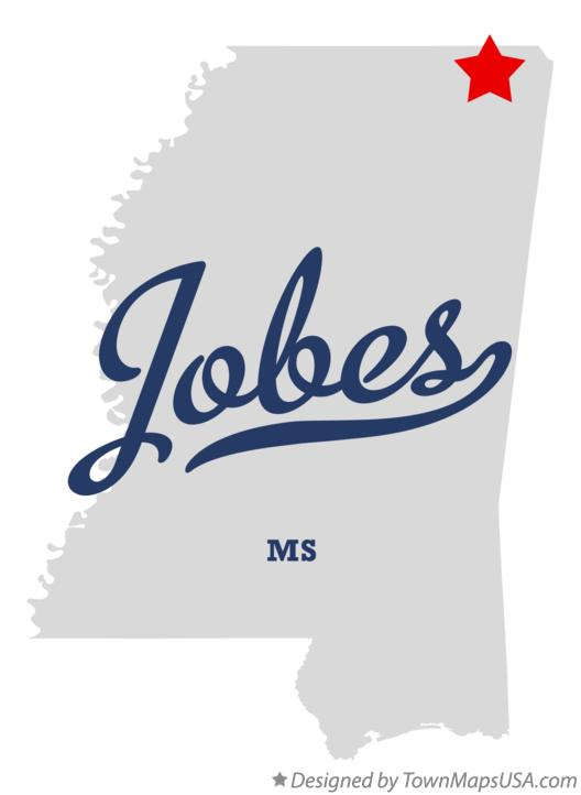 Map of Jobes Mississippi MS