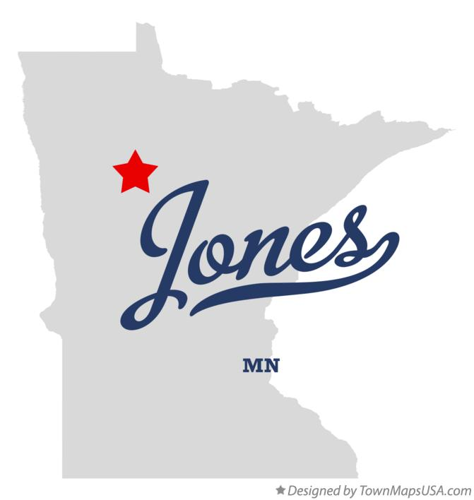 Map of Jones Minnesota MN