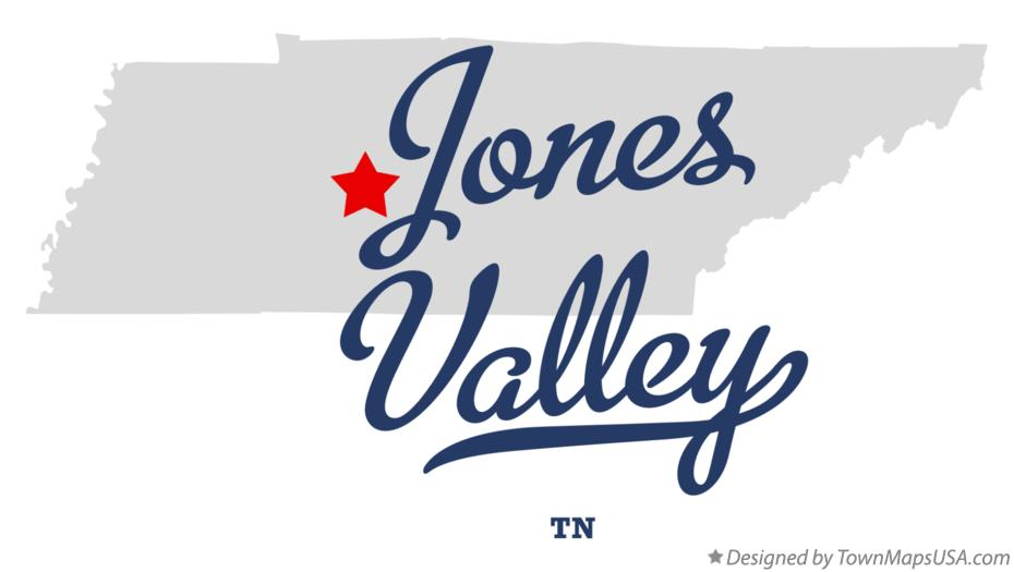 Map of Jones Valley Tennessee TN