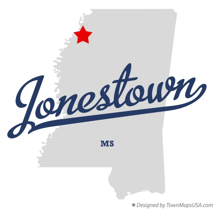 Map of Jonestown Mississippi MS