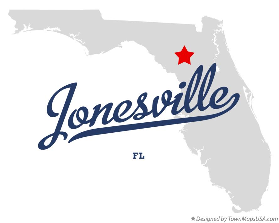 Map of Jonesville Florida FL
