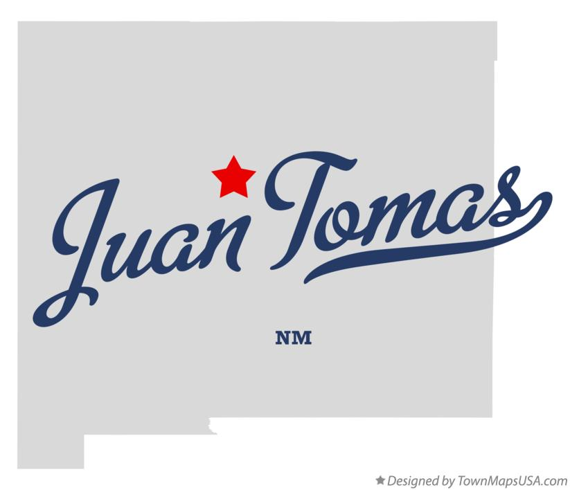 Map of Juan Tomas New Mexico NM