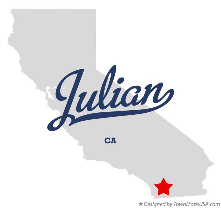 Julian California Map Map of Julian, CA, California