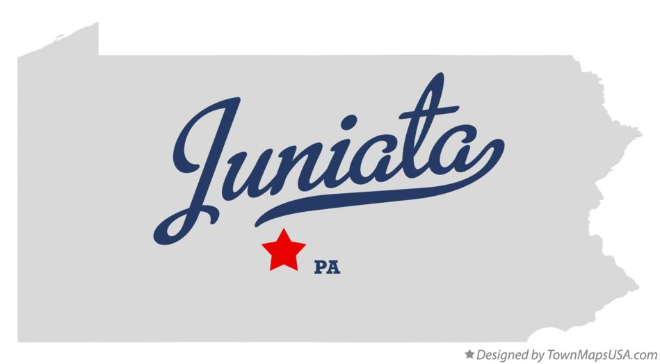 Map of Juniata Pennsylvania PA