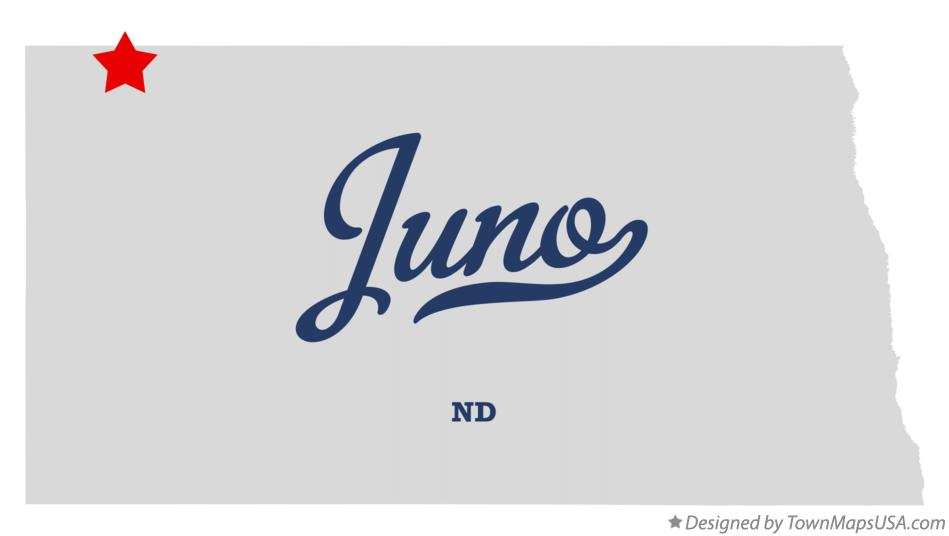 Map of Juno North Dakota ND