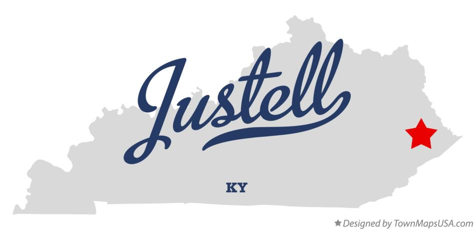 Map of Justell Kentucky KY