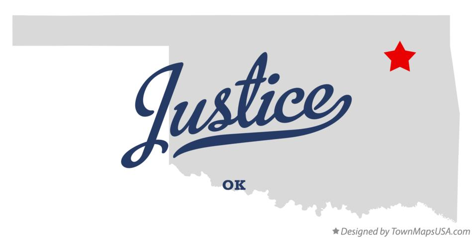 Map of Justice Oklahoma OK