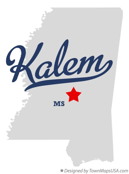 Map of Kalem Mississippi MS