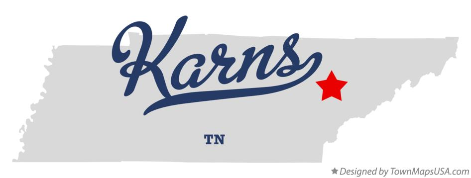 Map of Karns Tennessee TN