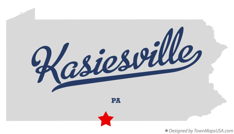 Map of Kasiesville Pennsylvania PA