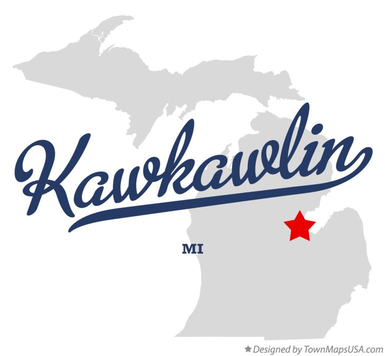 Map of Kawkawlin Michigan MI