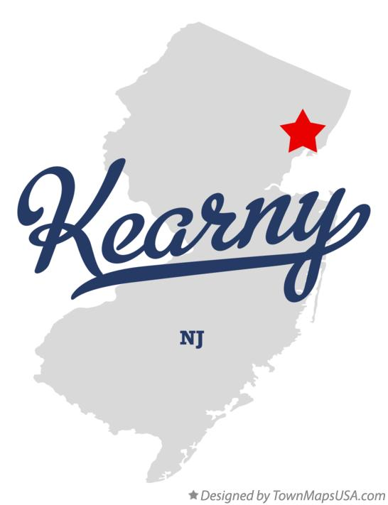 Map of Kearny New Jersey NJ
