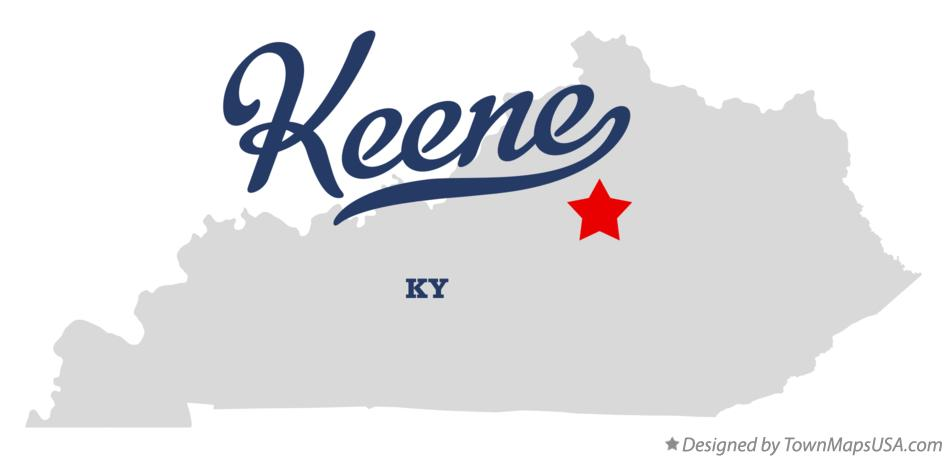 Map of Keene Kentucky KY